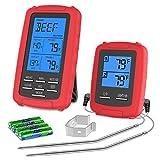 MILCEA Wireless Fleischthermometer Grillthermometer Bratenthermometer einstellbar 1m Kable und Count Down Timer Temperaturbereich bis 300°C Wireless Thermometer