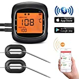 TOPELEK Grillthermometer Bluetooth Ofenthermometer Digital Steak Thermometer Großes Display mit Hintergrundbeleuchtung Magnetisches Montage 2 Sonden Fleischthermomete für Küche Grill Essen Milch
