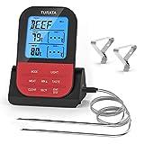 TURATA Bratenthermometer Fleischthermometer Kabellos BBQ Bratenthermometer Digital Grillthermometer Doppelsonde Elektronische Küche Temperatur