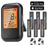 MUSCCCM Digital Grillthermometer, Fleischthermometer, BBQ Thermometer Bluetooth 5.0 Bratenthermometer mit 6 Sonden LCD Display für Backofen, Grill, Küche, Kochen, Unterstützt IOS, Android