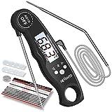 Hevanto Fleischthermometer Digital Grillthermometer, Instant Read Bratenthermometer mit 2 Edelstahlsonden & Temperatur Voreinstellen Alarm Küchenthermometer für Küche, Braten, Grill, BBQ