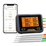 Inkbird WLAN & Bluetooth Grillthermometer IBBQ-4BW, WiFi Fleischthermometer mit 4 Temperaturfühlern + Magnethalter, USB-Wiederaufladbares Bratenthermometer mit Dual-Alarm Funktion für BBQ