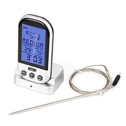 Sunjas Funk Grillthermometer Display Braten Grill Thermometer Bratenthermometer Fleisch BBQ Fleisch Steak Braten Im Ofen (Silber)