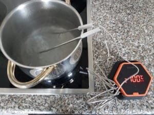 Messergebnis Inkbird IBT-6X bei kochendem Wasser